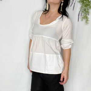 VINCE cotton tiered white blouse boho casual
